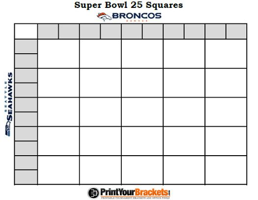 Printable SuperBowl Squares 25 Grid Office Pool NFL | Interesting ...