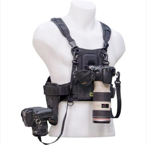 Multi Camera Carrier Photographer Vest with Dual Side Holster (PLUS BONUS hand strap)
