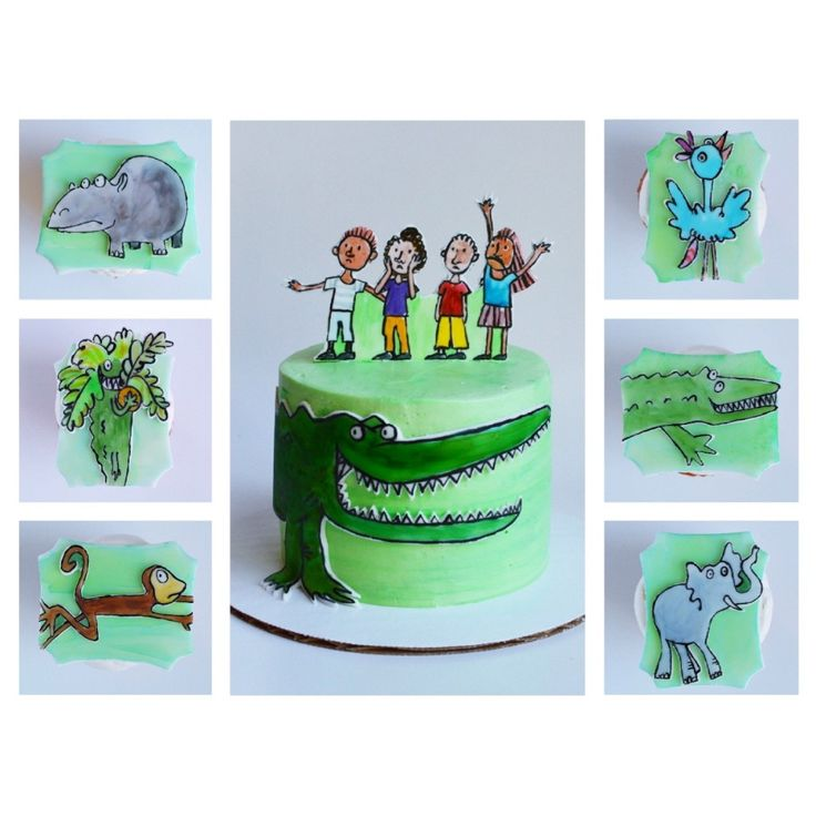 smash cake and cupcakes based off roald dahl's childrens book 'the enormous crocodile'