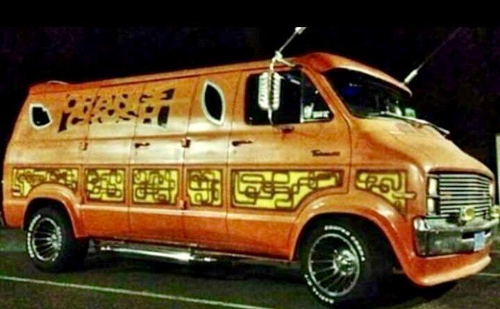 """Orange Crush"" Custom 70's Dodge van"
