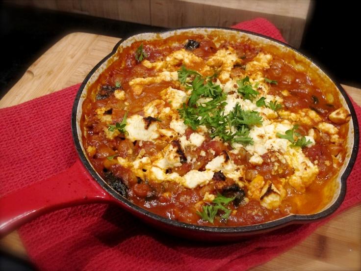Moroccan chickpea, spinach & fetta bake