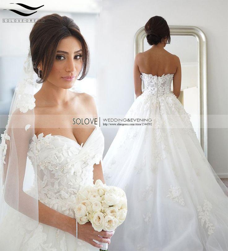 100 Real Photo Elegant A Line Lace Princess Wedding Dresses Vintage Dress 2017