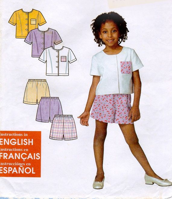 Simplicity 9009 Sewing Pattern Little Girls Top & Shorts Size