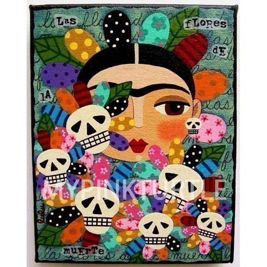 FRIDA Kahlo Day Of The Dead Dia De Muertos Skull Flowers 8 X 10