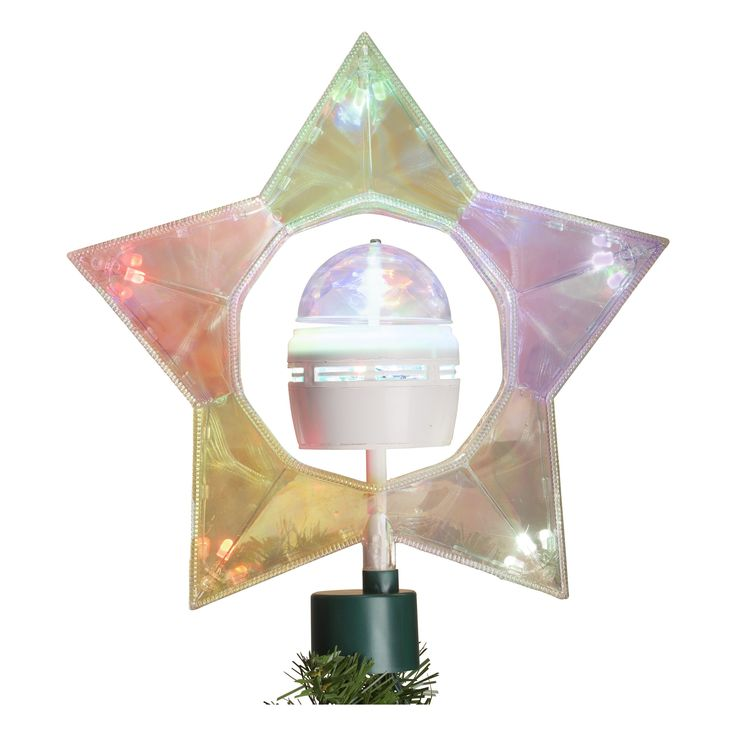 "11.5"" B/O Iridescent Rotate Star Tree-Top, LED Color Changing Light"