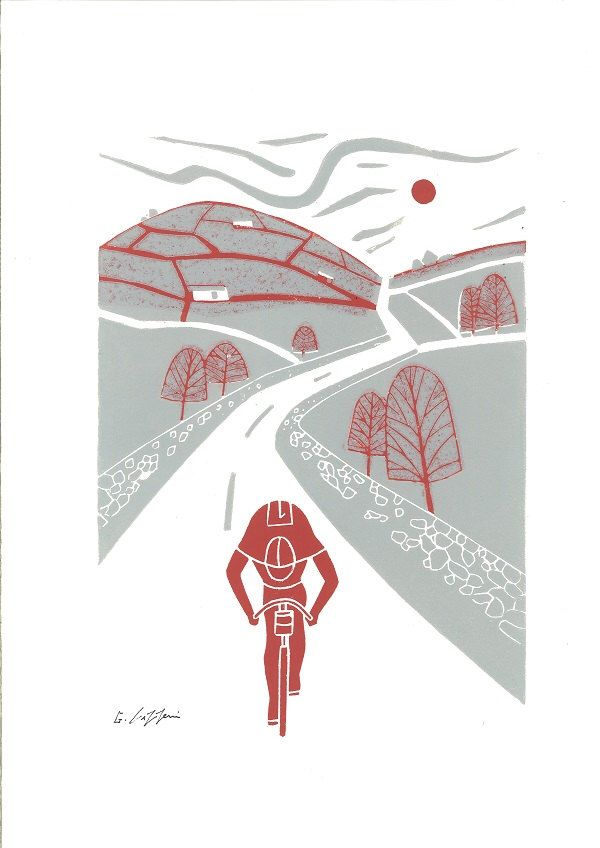Bicycle Art Linocut Print - Tour de France - Printmaking - Tour de Yorkshire - Cyclist - Cycling Art - Bike Contemporary Art  - Bike Print by TheBluebirdGallery on Etsy https://www.etsy.com/listing/204316811/bicycle-art-linocut-print-tour-de-france