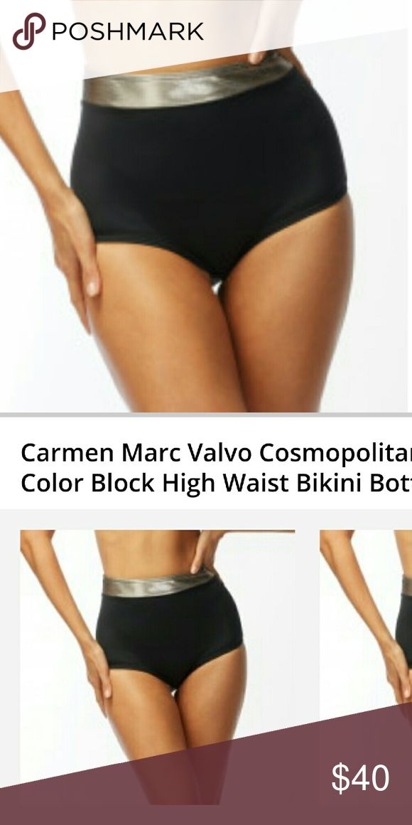 Black silver high waisted bikini Carmen Marc Valvo black/silver Bikini bottom. Size small, honestly it runs a bit big, I'm a size 2/4 and its too big. It would fit a 6/8 comfortably. Swim Bikinis