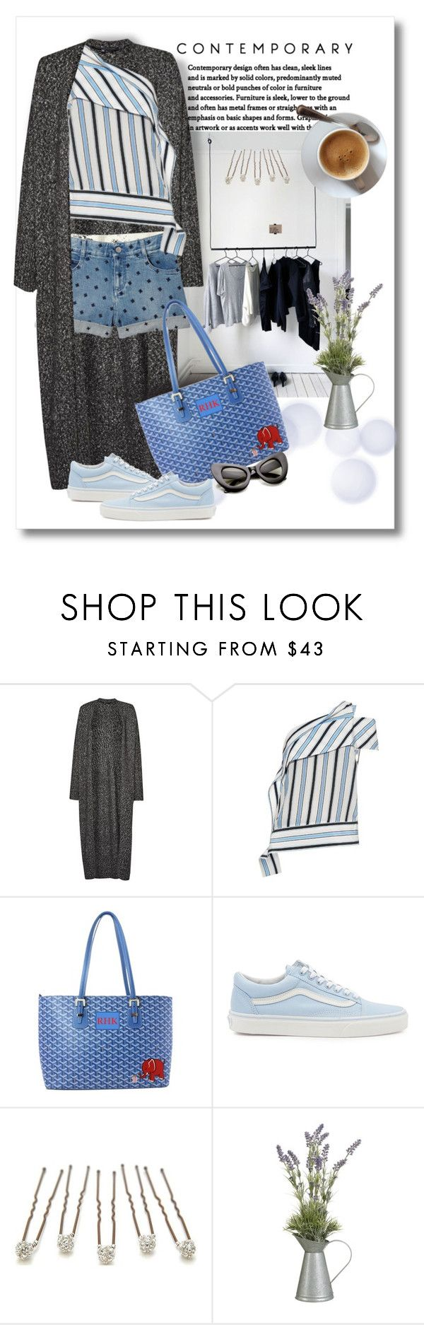 """Denim Shorts"" by mellapr ❤ liked on Polyvore featuring French Connection, STELLA McCARTNEY, MSGM, Trilogy, Goyard, Vans and John Lewis"