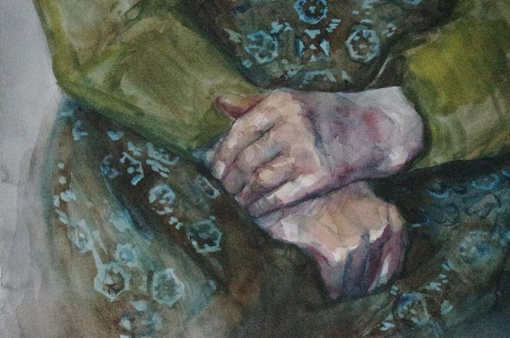 watercolor, aquarel , detail, hands