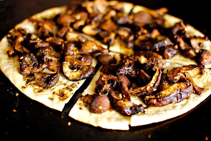 Roasted Mushroom Flatbread Pizzas with Lemony Garlic Sauce