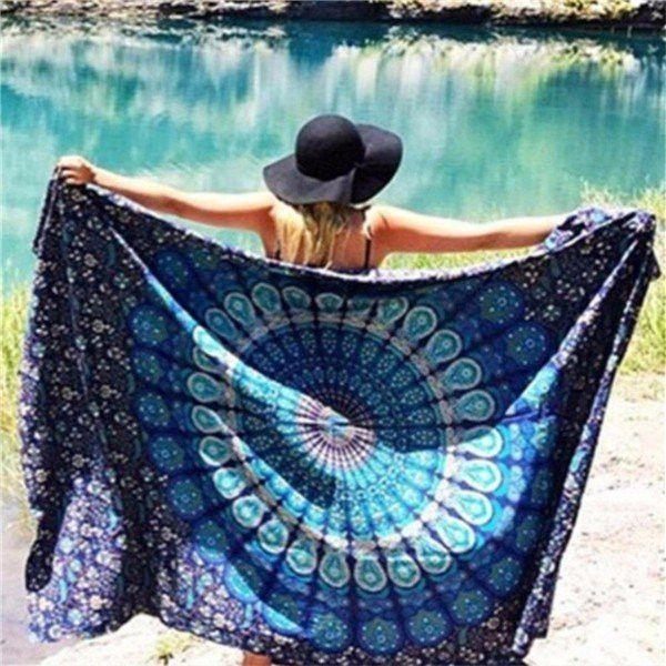 Beach Scarf Shawl Blue Spa Bath Tapestry Swimming Hanging Towel Yoga Mat Decor