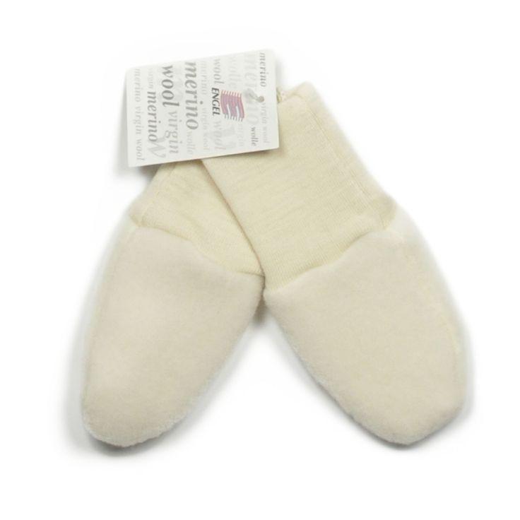 Engel baby mittens in organic wool fleece