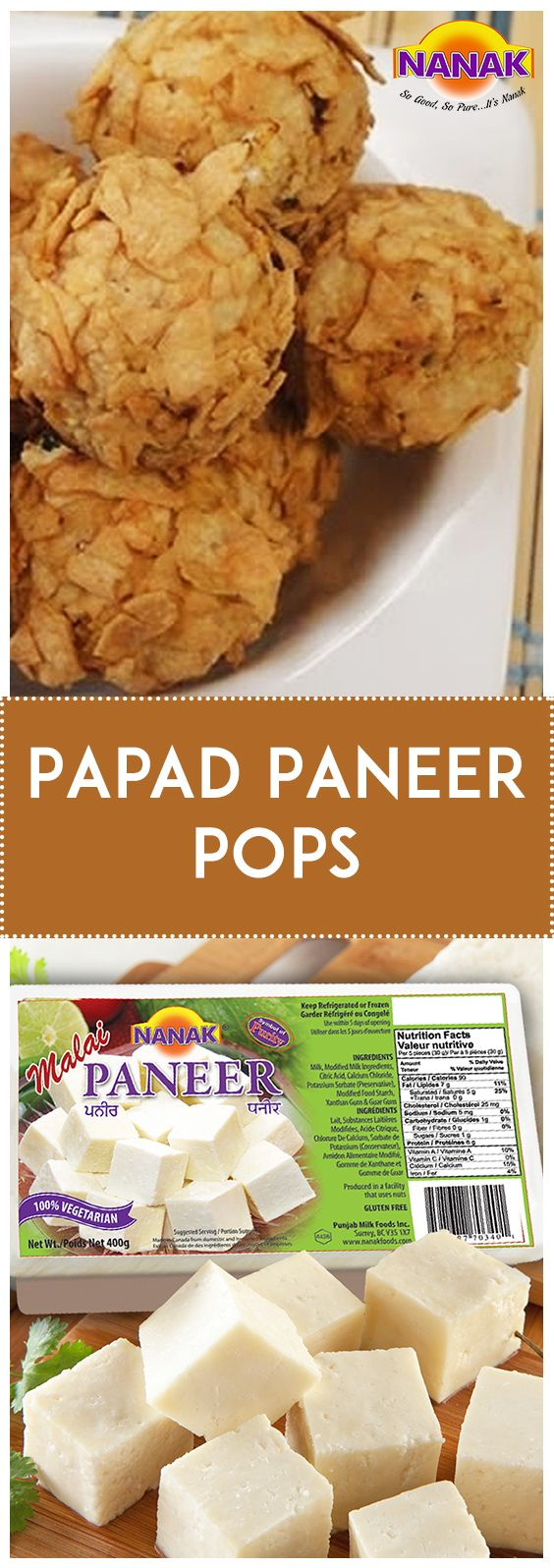 Relish paneer pops crusted with crispy papad that can be made within minutes with this easy recipe. #Yummy #Snack #Delicious #Holiday #Season   Crushed raw papad - 1 1/2 cups Paneer (cottage cheese) – grated 1 cup Chaat masala - 1 teaspoon Red chili powder - 1/2 teaspoon Salt - to taste Fresh coriander leaves chopped - 1 tablespoon Fresh mint leaves chopped - 1 tablespoon Refined flour (Maida) - 5 tablespoons Oil - to deep fry