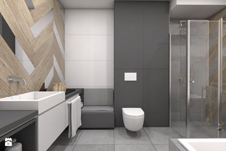 Projekt domu jednorodzinnego 1 - Duża łazienka w bloku bez okna, styl nowoczesny - zdjęcie od BAGUA Pracownia Architektury Wnętrz