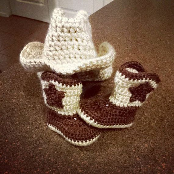 Baby crochet cowboy boots and matching hat by QuteeAsAButton, $35.00