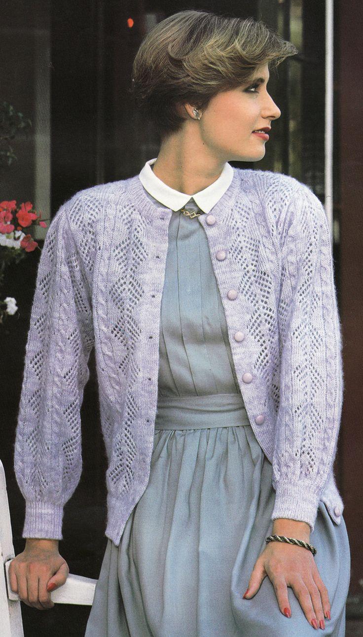 Unique Vintage Cardigan Knitting Pattern Illustration - Decke ...