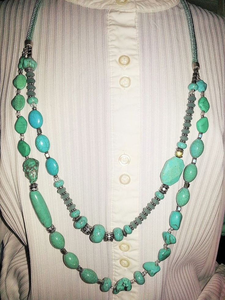 Chico's Aubrey Large Double Strand Faux Glass Turquoise Beaded Rope Necklace #Chicos #Statement