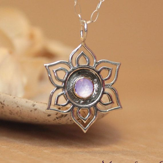 26 best lotus images on pinterest lotus flowers inspiration sterling silver lotus necklace choice of gemstone zen lotus flower pendant with chain audiocablefo light catalogue