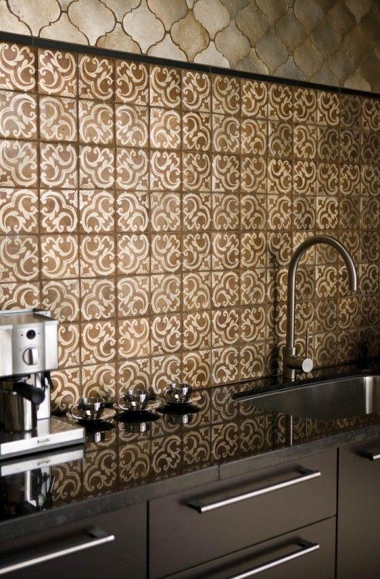 Divine Renovations Moroccan Tiles #Gold #Splashback #Pattern. Tile  DesignCeramic DesignKitchen BacksplashGranite ...