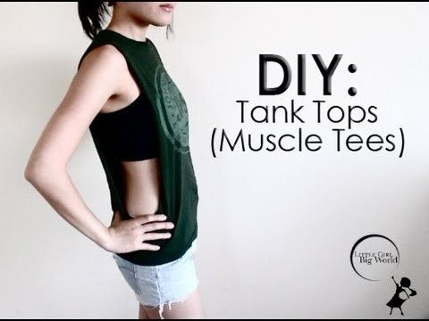 How To: Cut T-Shirts Into Cute Tank Tops with Big Dropping Arm Holes DIY Easy…