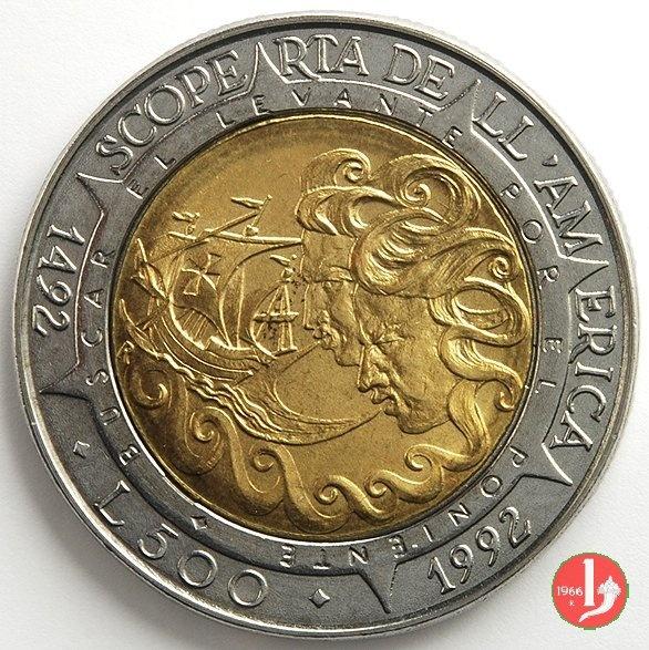 500 Lire S.marino 1992 Scoperta dell' America