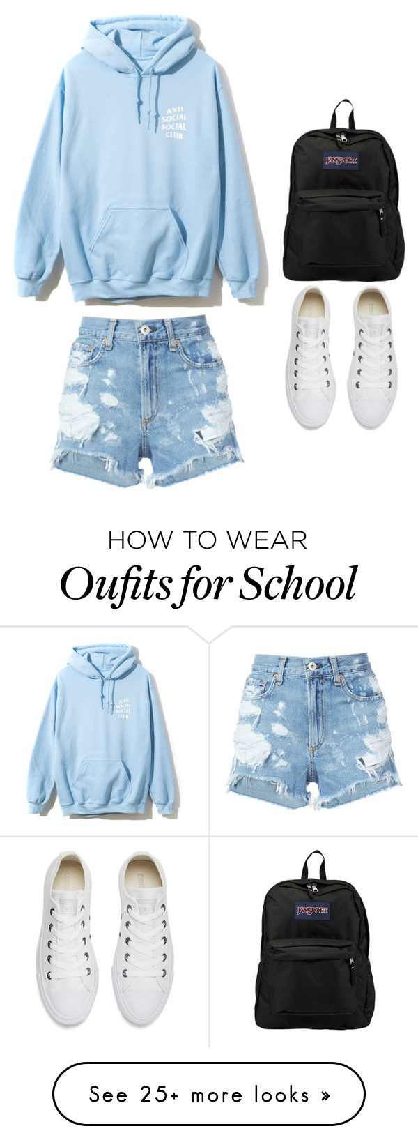 """Lazy day at school"" by keviprajna on Polyvore featuring rag & bone/JEAN, Converse and JanSport"