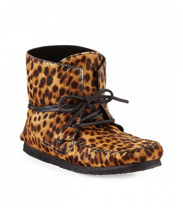 Isabel Marant Flavie Calf Hair Moccasin Ankle Boots in Leopard