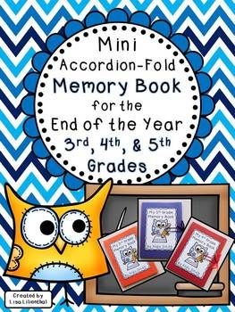 This project is a simple and cute accordion-fold mini memory book for students to record some of their best 3rd, 4th, or 5th grade memories at the end of the school year.