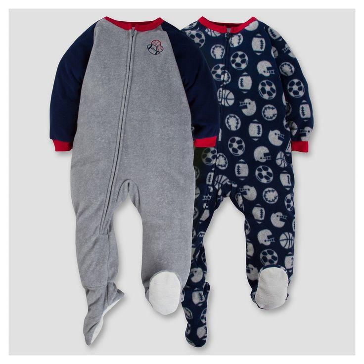 Gerber Toddler Boy 2pk Sports Microfleece Zip-Front Footed Blanket Sleepers - Gray 4T