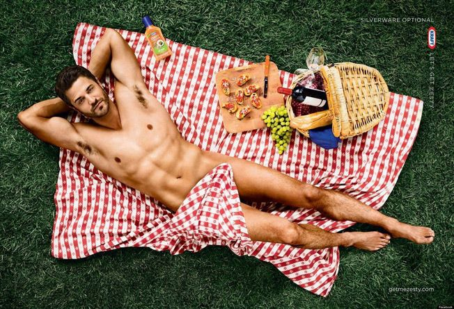Kraft released a series of satirical advertisements for their creamy french dressing showing a half naked man pouring it on his salad. But even if it was meant to be funny, having a half naked man endorse salad dressing, it is obviously a way to get people enticed.