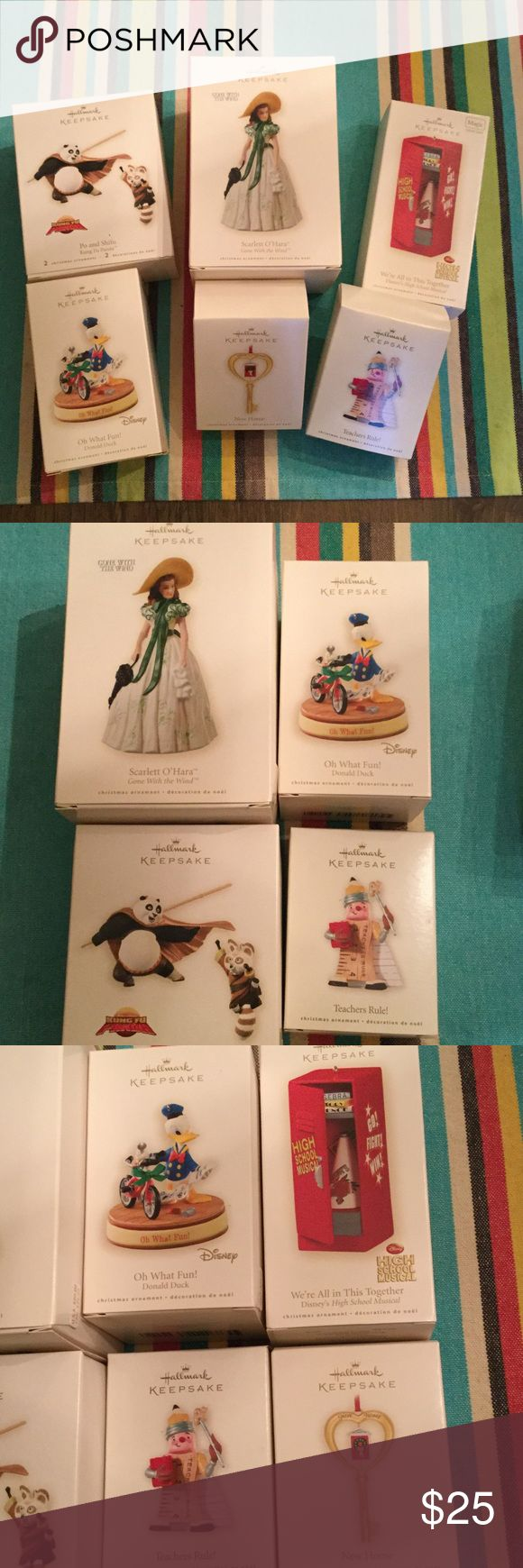 Bundle Hallmark New Christmas Ornaments 6 ornaments bundle. Gone with the wind Scarlett O'Hara, Disney Donald Duck, Kung fu panda 🐼 Po and Shifu. Teachers rule, high school musical and new home. All brand new never opened Hallmark Other