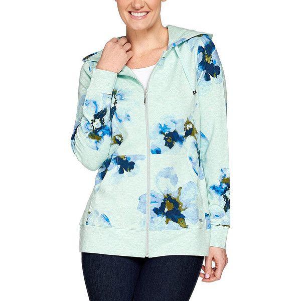 Isaac Mizrahi Live! Blue Floral Zip-Up Hoodie ($40) ❤ liked on Polyvore featuring tops, hoodies, hooded zip sweatshirt, green zip up hoodie, zip up hoodie, blue zip up hoodie and long zip up hoodie