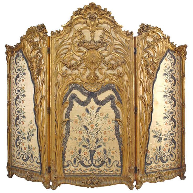 Spectacular Louis XV Style Silk Paneled Gilt Screen | From a unique collection of antique and modern screens at http://www.1stdibs.com/furniture/more-furniture-collectibles/screens/