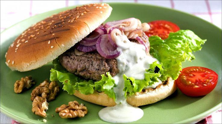 Hamburger med blåmuggost