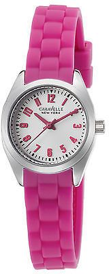 Caravelle NY 43L175 Women's Pink Silicone Silver-Tone Dial SS