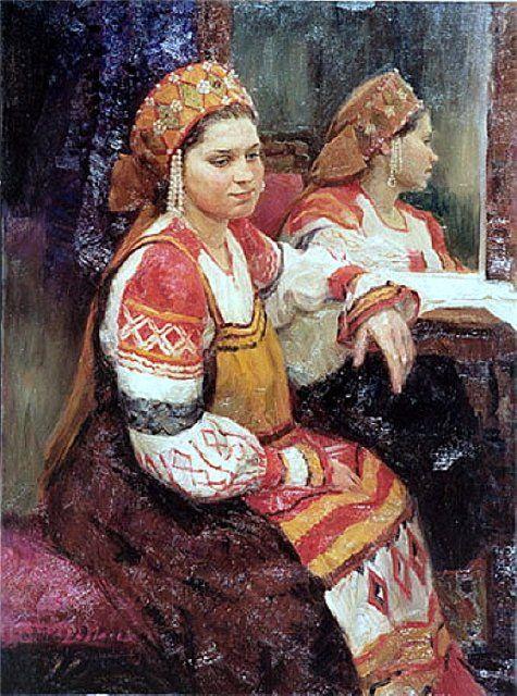 Русский костюм в живописи. А.Косничев У зеркала