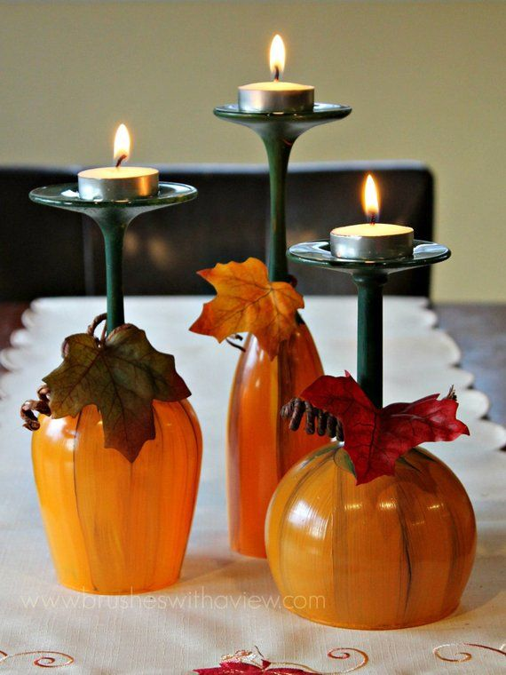 Fall Table Centerpiece Pumpkin Wine Glasses- Thanksgiving Wine Glasses- Candle holder- Set of 3- Hand Painted Wine Glasses