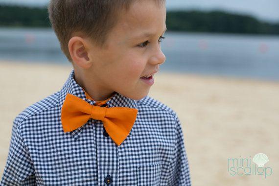 Child Boys Orange Bow Tie Toddler Orange Bow Tie by MiniScallop