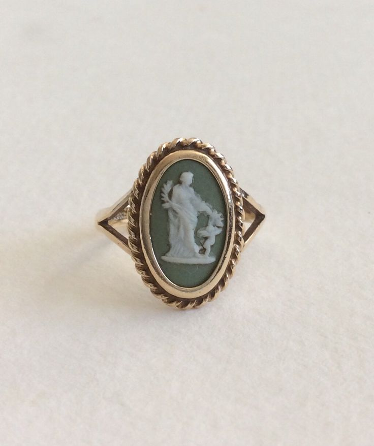 Vintage green Wedgewood cameo band ring in solid 10k by EmBound on Etsy https://www.etsy.com/listing/198235735/vintage-green-wedgewood-cameo-band-ring