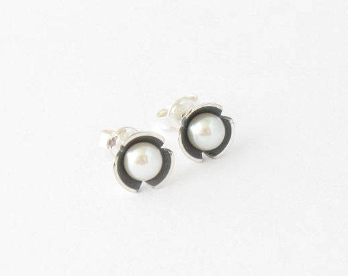 Pearl earrings-Handmade sterling silver stud earrings MINOatelier.etsy.com  (scheduled via http://www.tailwindapp.com?utm_source=pinterest&utm_medium=twpin)