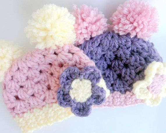 Baby Hat Pink Purple Baby Hat with Pompoms and by mybabyhats