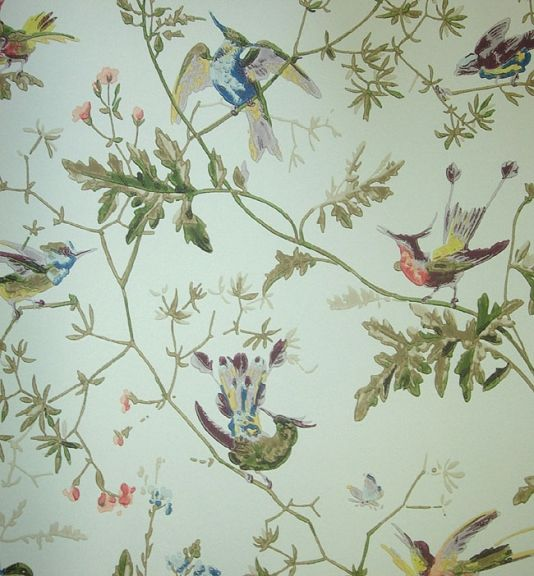 Hummingbirds Wallpaper Wallpaper with colourful birds on branches printed on aqua blue background