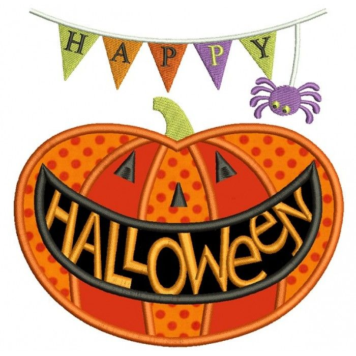 Happy Halloween Smiling Pumpkin Applique Machine Embroidery Design Digitized Pattern