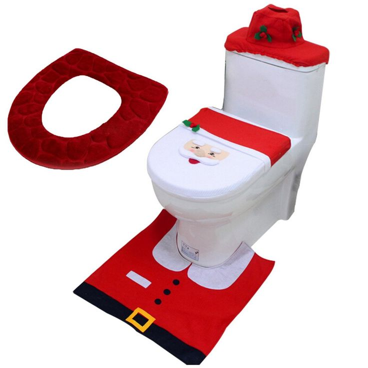 Feoya Santa 4PCS Toilet Seat Cover and Rug Set Christmas Bathroom Decoration Red Toilet Cushion -- Awesome products selected by Anna Churchill