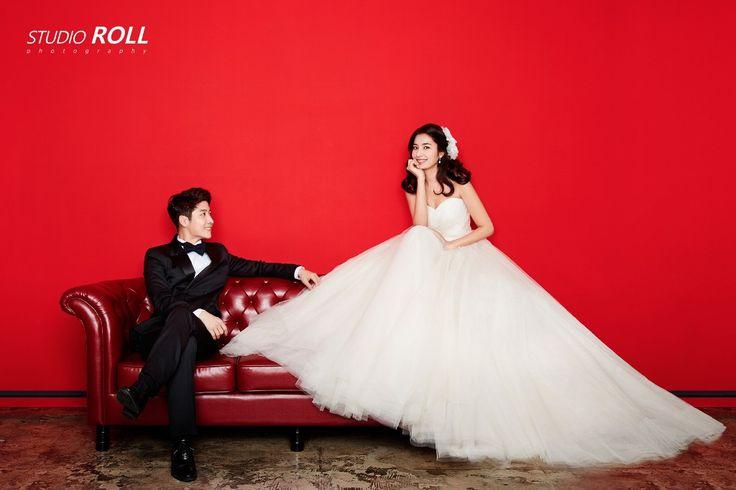 Bright And Eye-catching Korean Studio Pre-wedding Photoshoot - Studio Roll, Red, Minimalistic, Classy, Fun, Indoors