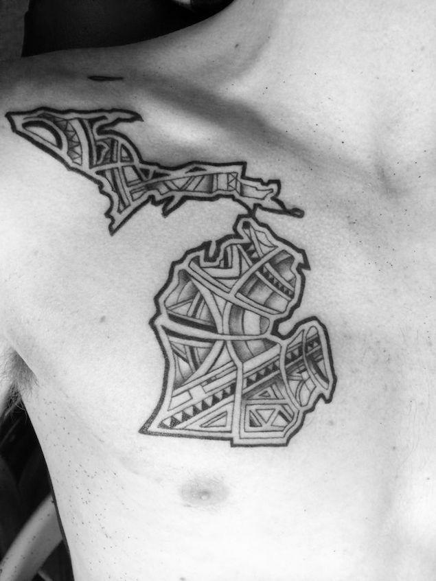 State of Michigan Tattoo Design