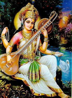 Dressed in a white sari and seated on a white lotus, Goddess Saraswati is considered is to be the essence of purity.