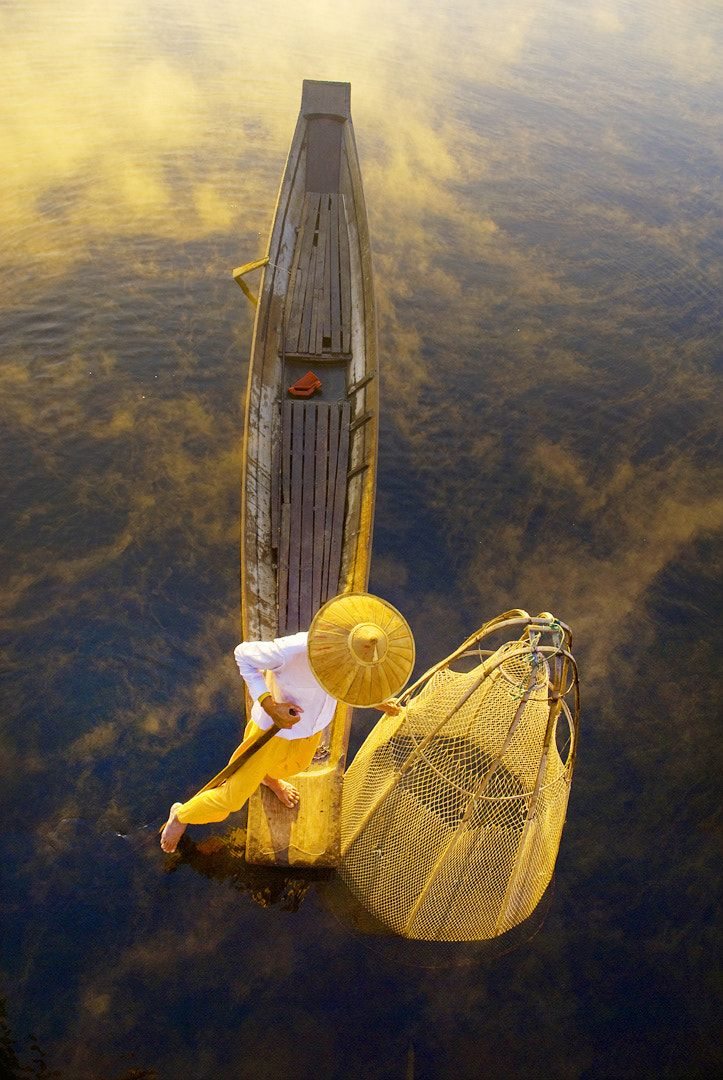 Golden Morning - The Fisherman from Inle lake in Shan state of Myanmar.