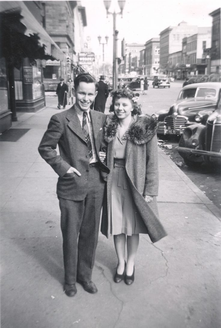 Young teens on a date c.1940s have a picture of my mom and dad, taken by a streetphotographer in Vancouver, B.C.