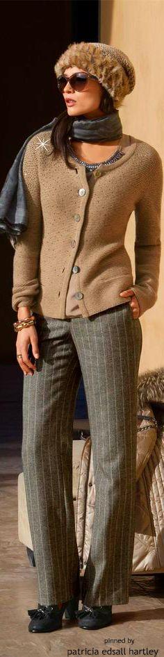 Madeleine ~ Tan Sweater w Grey pinstripe Trousers: